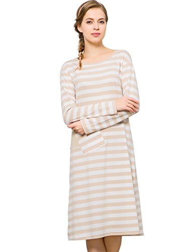 Qianxiu Womens Knit Cotton Sleepwear Long Sleeved Striped Nightgown Homedress (M, flaxen) (Long Sleeved Gown)