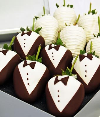 From You Flowers - Bride & Groom Chocolate Covered Strawberries - 12 Pieces