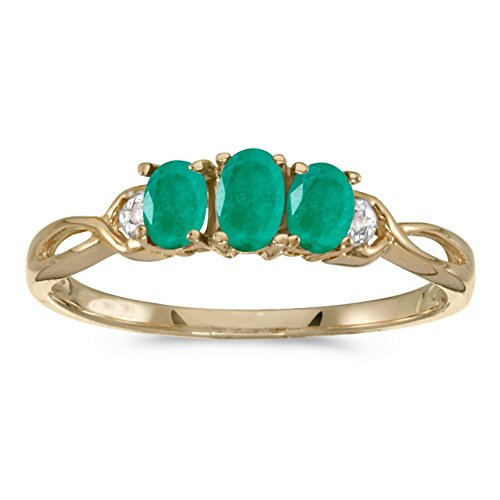 Stone Genuine Ring 3 Emerald (FB Jewels 14k Yellow Gold Genuine Green Birthstone Solitaire Oval Emerald And Diamond Three Stone Wedding Engagement Statement Ring - Size 7.5 (0.42 Cttw.))