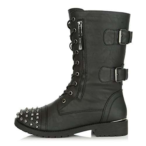 DailyShoes Women's Military Lace up Buckle Combat Boots Mid Knee High Exclusive Credit Card Pocket Front Studded Booties, Black PU, 8.5 B(M) US by DailyShoes (Image #6)