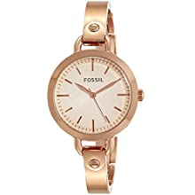 Fossil Women's Classic Minute Quartz Watch with Stainless-Steel-Plated Strap, Rose Gold, 8 (Model: BQ3026