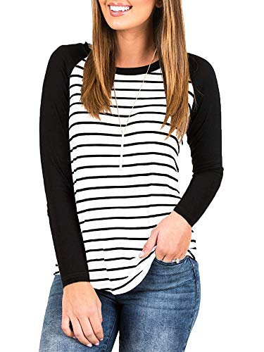 INFITTY Women's Round Neck Long Sleeve Baseball T Shirts Color Block Striped Casual Tops Blouse White 2X-Large
