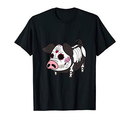 Dia De Los Muertes Pig Farmer Halloween Mexican T-Shirt]()