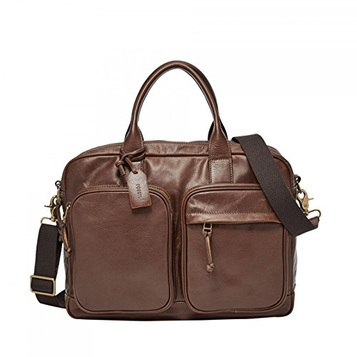 FOSSIL Defender Double Zip Workbag Brown
