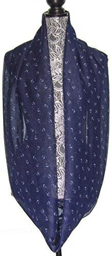 Women Nautical Fashion Infinity Marine Anchor Print Cowl Lightweight Scarf - Navy Blue/White