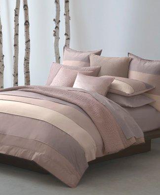donna karan essentials bedding city stripe block euro european silk pillow sham peony