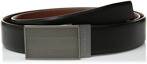 Perry Ellis Men's 35MM Reversible Herringbone Pattern Plaque Belt, Black/Brown, 32