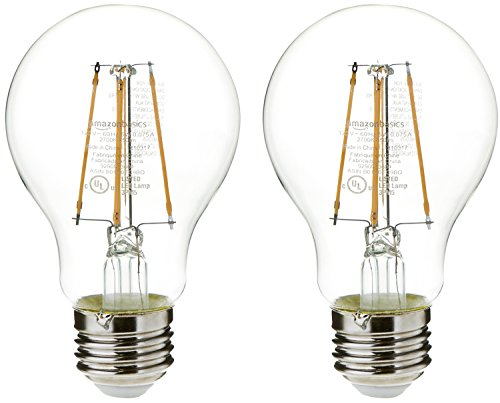 AmazonBasics 40 Watt 15,000 Hours Non-Dimmable 450 Lumens LED Light Bulb - Pack of 2, Clear