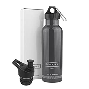 Large Dark Gray, Reusable, Eco, Metal Insulated Sports Water Bottle 25oz BPA FREE by Futurepace Tech, BONUS SPORTS LID - Mega Savings over Plastic! Perfect for Men, Women, Boys, Girls!