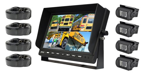 Pyle PLCMTR104 Weatherproof Rearview Backup Camera System with 10.1'' LCD Color Monitor, Built-in Quad Control Box Screen, (4) IR Night Vision Cameras, Dual DC 12/24V for Bus, Truck, Trailer, Van ()
