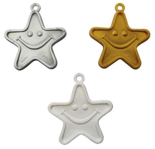 Plastic Balloon Weights - 8 Gram Gold, Silver & White Stars Weights Assorted x 10