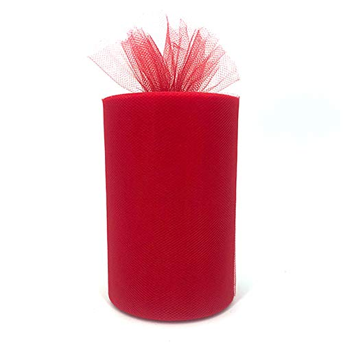 Tulle Fabric Rolls 6 Inch by 100 Yards (300 feet) Tulle Spool for Wedding Party Decorations Gift Bow Craft Tutu Skirt (Red)