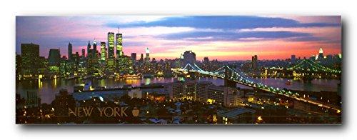NYC Brooklyn Bridge Manhattan New York City Skyline Wall Decor Art Print Poster (12x36) (City Skyline Poster)