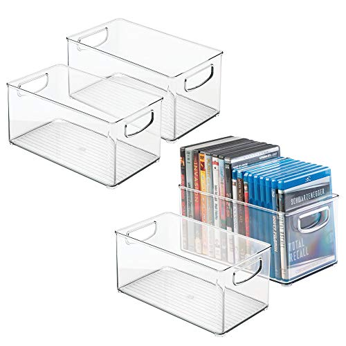 mDesign Stackable Household Storage Organizer Container Bin for DVDs, PS4, Nintendo and Xbox Video Games, Controllers and Head Sets - Pack of 4, Medium, Clear from mDesign