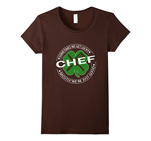Women's chef shirt- lucky chef irish saint patrick day shirt Medium Brown (Female Pirate Jacket)