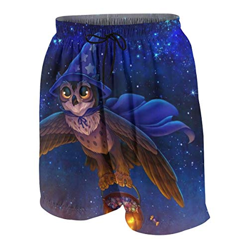 Boys Teens Swim Trunks Board Shorts Quick Dry Halloween Magic Owl Pumpkin Flying Beachwear Summer Cool Swimming Short with Pockets White -