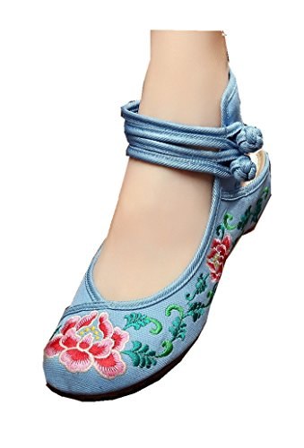Shoes Blue Flower Tianrui Crown Sandals Women's Chinese Flats Ballet Embroidery qg7Up0