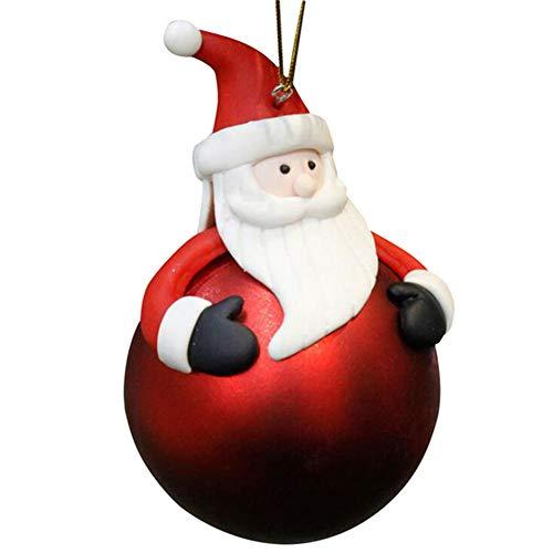 Hoxekle Christmas Tree Decorative Ornaments Santa Claus Snowman Elk Bear Hanging Christmas Ball Pendant Drop Ornaments Soft Ceramic Ball ()