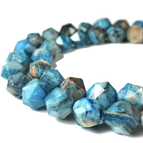 [ABCgems] Mexican Blue Crazy Lace Agate (Exquisite Matrix) 10mm Precision-Star-Cut Beads for Beading & Jewelry ()