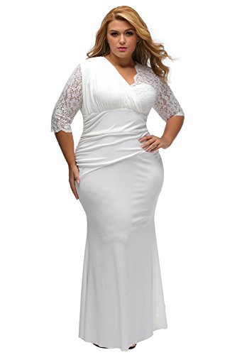 XAKALAKA Women\'s Lace Sleeve Evening Gown Wedding Plus Size Maxi Dress
