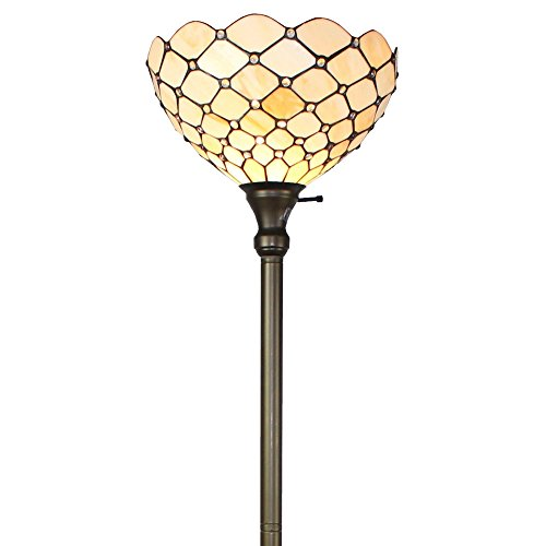 Lamp Floor Bronze Ivory (Amora Lighting - Best and Unique Tiffany-style Ivory Jeweled 72-inch Indoor Floor Torchiere Lamp Made with Glass and Metal and Has a Bronze Finish)