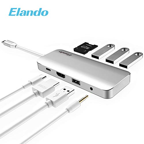 Elando USB C Hub, Aluminum USB Type C Hub with 4K HDMI, USB-C Power Delivery, USB 3.0, USB 2.0, Audio Jack SD/TF Card Reader for USB C Device 2017 Type-C Laptops by Elando