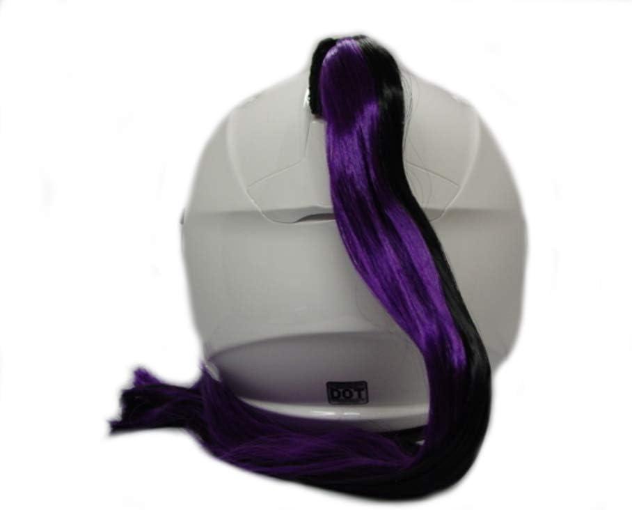 Purple /& Black Ladies Helmet Ponytail Works On Any Motorcycle or Other Helmet