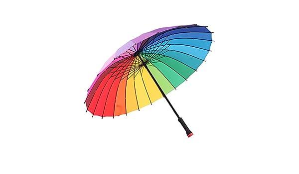 Amazon.com: Umbrella Paraguas manual de doble uso Rainbow con mango largo Inicio paraguas de viaje al aire libre 100cm: Home & Kitchen