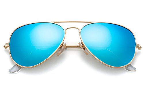 Womens Medium Frame Sunglasses - YuFalling Polarized Aviator Sunglasses for Men and Women (gold frame/light blue lens, 58)