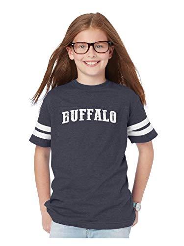 City of Buffalo New York Traveler`s Gift Youth Unisex Football Fine Jersey Tee (YSNB) Navy -