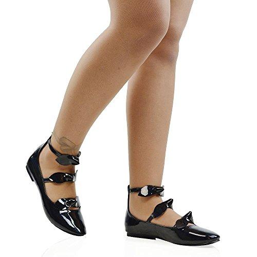 Strap Toe Bow GLAM Triple Shoes Detail Patent Pumps Zipper Black ESSEX Women's Ballerina Round SwXHKF