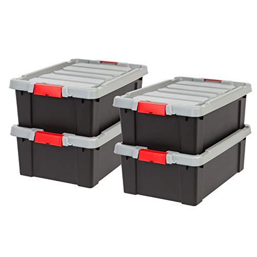 IRIS USA, Inc. SIA-10 Store-It-All Tote, 4 Pack, 11.75 Gallon, Black/Red Buckle