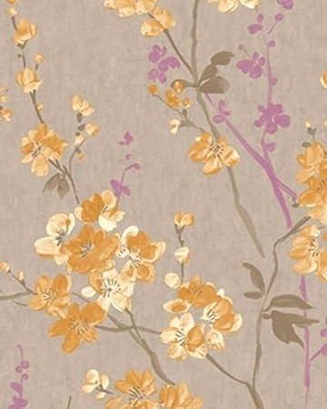 PS04-07-2 - Pastell Blumen Gold, Grau, Lila, Weiß Galerie Wallpaper ...
