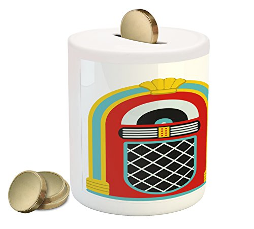 Ambesonne Jukebox Piggy Bank, Jazz Age Vintage Party Theme Music Raido Box with Quote Art Print, Printed Ceramic Coin Bank Money Box for Cash Saving, Red Sky Blue and Yellow