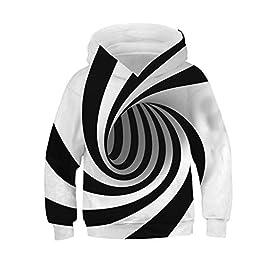 Armilum Baby Products Kids Pullover Hoodie Coat,Teen Kids Girl Boy 3D Fleece Print with Pocket Cartoon Sweatshirt Hooded Tops for 6-13 Years