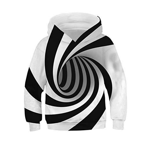 Cyhulu Teen Boys Girls Realistic Vortex 3D Digital Print Galaxy Pullover Hoodies Novelty Cool Sweatshirt Hooded Pockets S-L (Multicolor, M/8-11 Years)