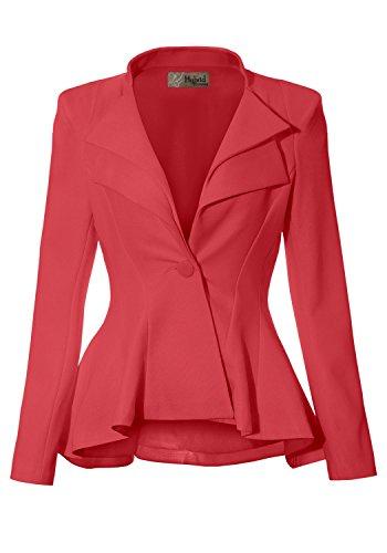 Crinkled Womens Jacket - Women Double Notch Lapel Office Blazer JK43864 1073T Coral Medium