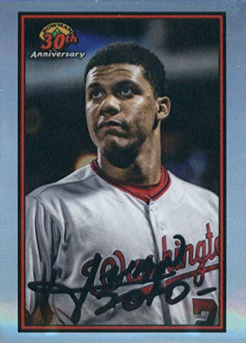 2019 MLB Bowman 30th Anniversary Chrome Refractor #B30-JSO Juan Soto Washington Nationals Official Baseball Card produced by Topps