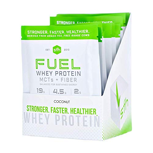 (Fuel Whey Protein Powder (Coconut) by SFH | Best Tasting 100% Grass Fed Whey | MCTs & Fiber for Energy | All Natural | Soy Free, Gluten Free, No RBST, No Artificial Flavors (10 Single Serve Pouches))