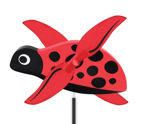 Ladybug Ornaments Bell (WindNSun WhirlyGig Outdoor Animated Decor, Lady Bug)