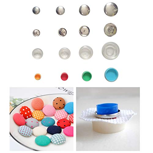 Outgeek 30 Sets Covered Button Kits DIY Button Craft Kits with 3 Set Assembly Tools Solid Fabric Cloth Covered Flat Back Buttons