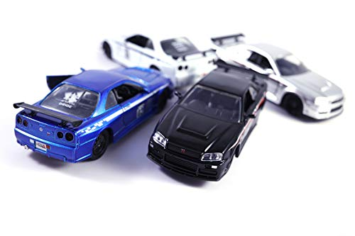 HCK Set of 4 2002 Nissan GTR R34 w/ Wide Body Kit by JONSIBAL - Pull Back Toy Cars 1:32 Scale (Black/Blue/White/Silver)