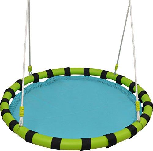 Polyester Net Hammock Swing (HappyPie 40'' Tree Hanging Swing Outdoor and Indoor Playground Set (Blue))