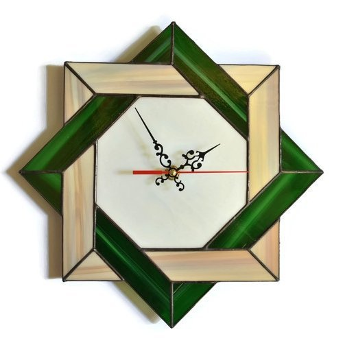 Celtic knot wall clock made of stained glass in rustic colors