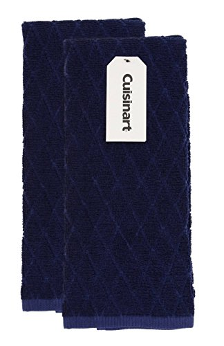 Cuisinart Bamboo Dish Towel Set-Kitchen and Hand Towels for Drying Dishes/Hands - Absorbent, Soft and Anti-Microbial-Premium Bamboo/Cotton Blend, 2 Pack, 16 x 26, Navy Aura, Diamond Design