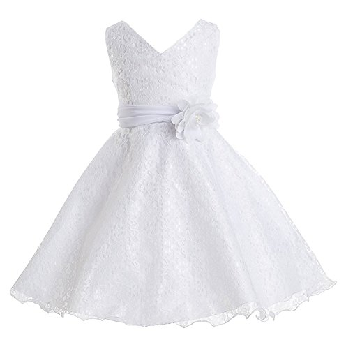 iGirlDress Big Girls Lace Special Occasion Dress Sizes 8 White ()