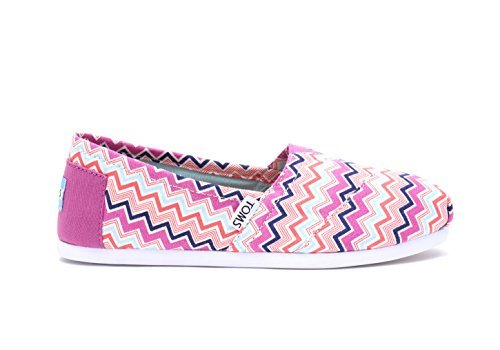 TOMS Women's Seasonal Classics Pink Canvas Chevron Loafer by TOMS