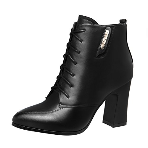 T&Mates Womens Stylish Pointy Close Toe Lace Up Chunky High Heel Ankle Booties Martin Boots