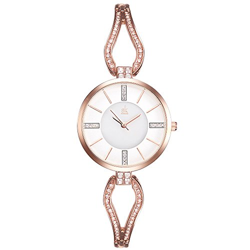 SK Women's Quartz Watches Rhinestone Bracelet Stainless Steel Jewelry Watches Analog Display Female Wristwatches (Rose Gold) from SK