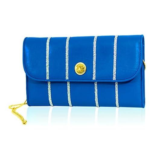 84bb02095de4 Valentino Orlandi Italian Designer Maldives Blue Leather Large Wallet Clutch